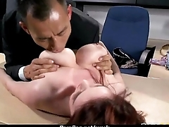 Big titted babe helps her CEO freeze someone out while at work 16