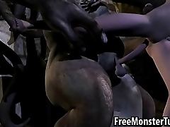 3D cartoon babe getting fucked hard by a horny orc