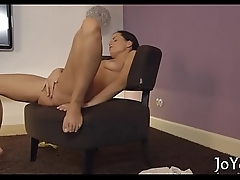 Solo gal stimulates scones and twat