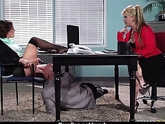 Big-boobed office top banana fucks her new employee 13