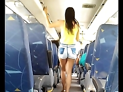 Hot skinny teen inside bus