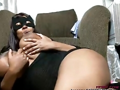 Aged black lady play her big size boobs and pussy