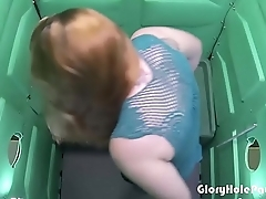 Cum Lover gets paid for sucking dick relative to a porta potty gloryhole.