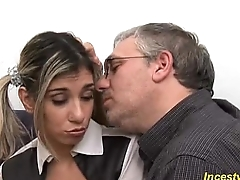 Father seduced his beauty busty daugther and fucked his daughter