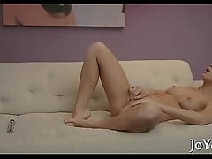 Solo angel stimulates tits and twat
