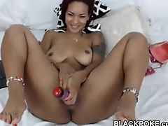 Busty menacing babe toys their way the money cunt