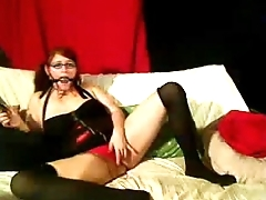 Red Heads Rachael Love Ball Gagged &amp_ Used - honeyoncam.com