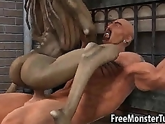 3D pasquinade alien babe riding a stud'_s cock into the open air