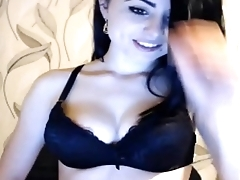 Beautiful brunette flashing tits