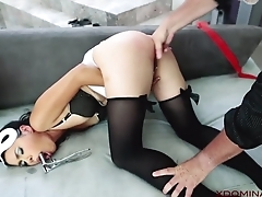 Exotic MILF analyzed overwrought skillful in the living room