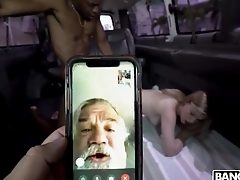 Daddy watches his lassie taking BBC in the bus