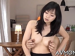 Tight asian mama pleasures herself