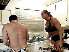 Irritable dominatrix with big muscles hurts her husband really bad-6