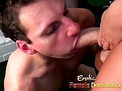 Busty bossy bitch humiliates a wizened guy plus pegs his ass-6