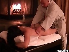 Asian gets her body massaged and creampied