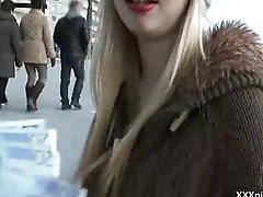 Public Pickups - Low-spirited Euro Teens Fucked In Public For Money 24