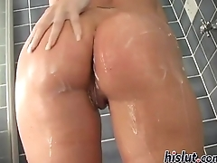 Naughty wenches take a shower and fuck