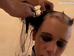 Pansy girl shaves her nude slut'_s head smooth overt - BaldPornGirls.com