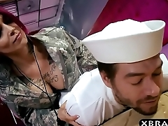 Navi boy fucks his huge boobs officer Anna Bell Peaks