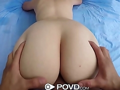 POVD - Nickey Huntsmann stretches while her man fucks her oiled all round pussy